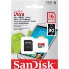 Memoria SanDisk 16GB Ultra Micro (SDHC) Card - Class 10 + SD Adapter